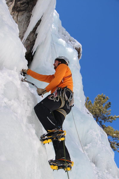 Leading at the Ouray Ice Park. Ouray Trip Feb 2013. Photo by Andy Ralph.