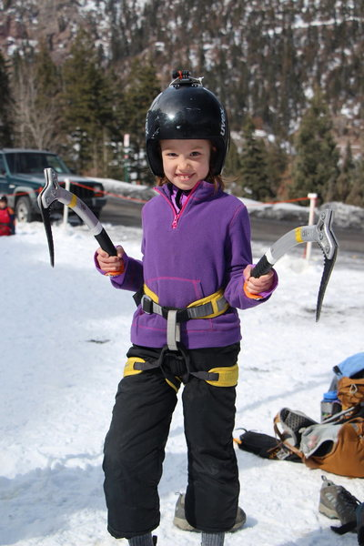 Rock Climbing Photo: Ava on Ice. Ouray Trip Feb 2013. Photo by Andy Ral...