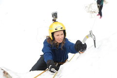 Rock Climbing Photo: Celi on Ice. Ouray Trip Feb 2013. Photo by Andy Ra...