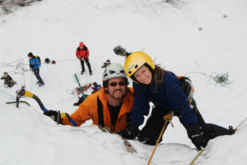 Rock Climbing Photo: Celi and Dad. Ouray Trip Feb 2013. Photo by Andy R...