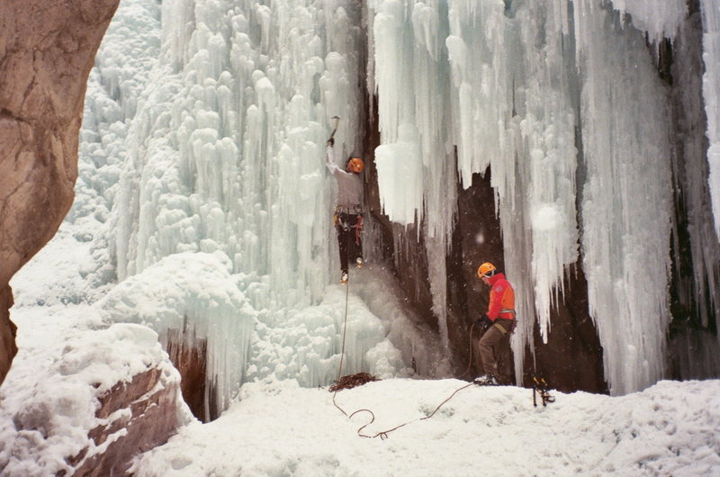 Conrad Anker and Phill Powers climbing under the bridge at the Ouray Ice park.