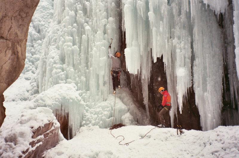 Rock Climbing Photo: Conrad Anker and Phill Powers climbing under the b...