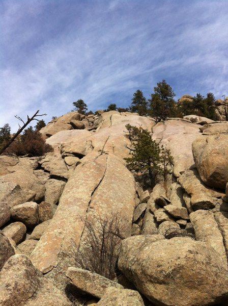 Rock Climbing Photo: The money pitch (P3) of Wax 'n Wane, as seen from ...
