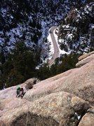 Rock Climbing Photo: Eddie following P1 of Wax 'n Wane (5.7R). West Inf...