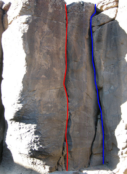 Rock Climbing Photo: Red=2 Legit 2 Quit (5.10b)  Blue=Unknown OW (5.9+)
