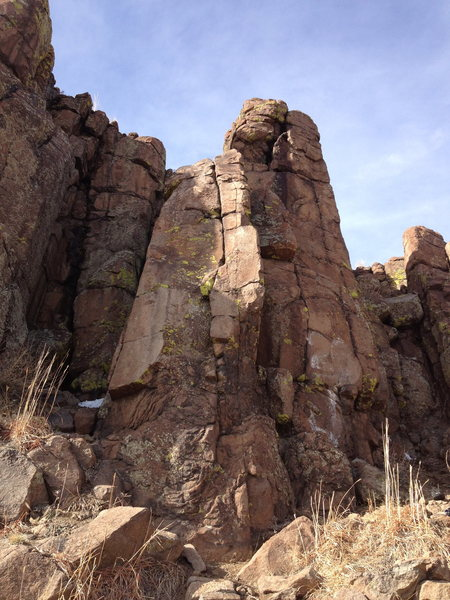 Rock Climbing Photo: Follow the obvious crack and arete in the center.....