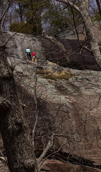 Rock Climbing Photo: 1st belay. Just below the crux headwall pitch.