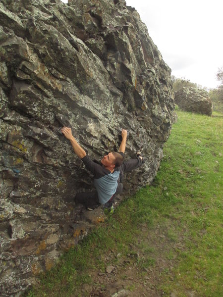 Rock Climbing Photo: Working the moves on the Miller Time traverse.
