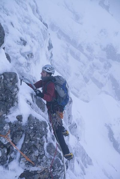 Starting out on the crux traverse<br> <br> Photo by Alastair Begley - http://www.masterplan-photography.co.uk