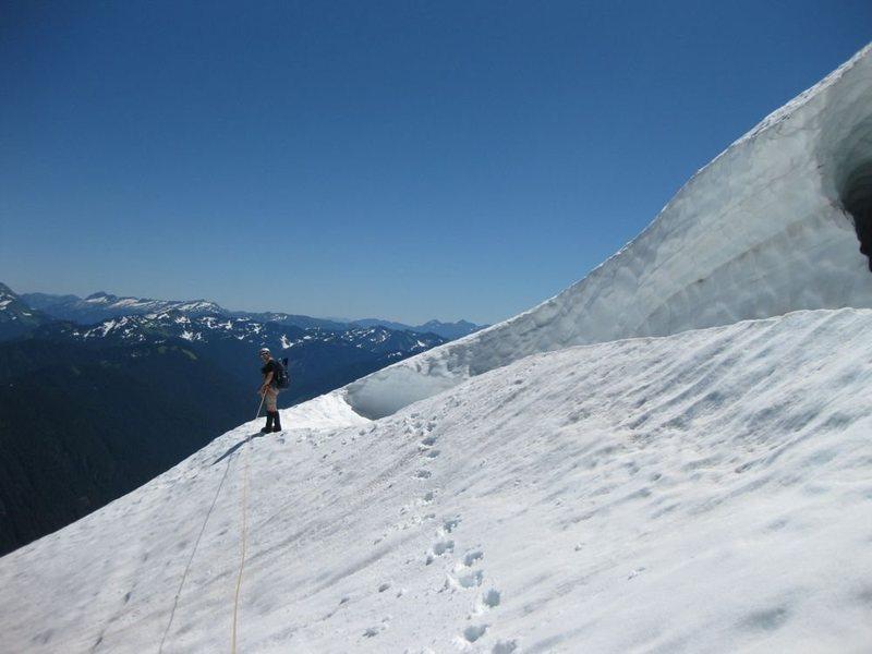 Rock Climbing Photo: Crossing the glacier on Sloan Peak