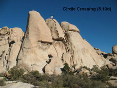 Rock Climbing Photo: Girdle Crossing (5.10d), Joshua Tree NP