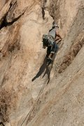 Rock Climbing Photo: Albert Ramirez just over the crack and heading for...