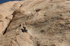 Rock Climbing Photo: Albert Ramirez setting a cam just below the final ...