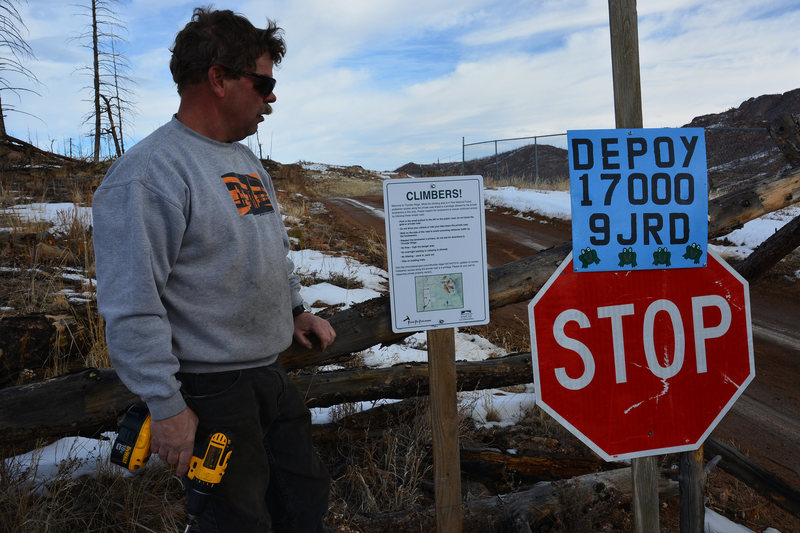 Installing the new sign at the Thunder Ridge parking area. Check it out on your next visit. The landowner Mike is shown here. Mike and Julie are good neighbors to have and quite nice - just follow those rules to maintain climber access.