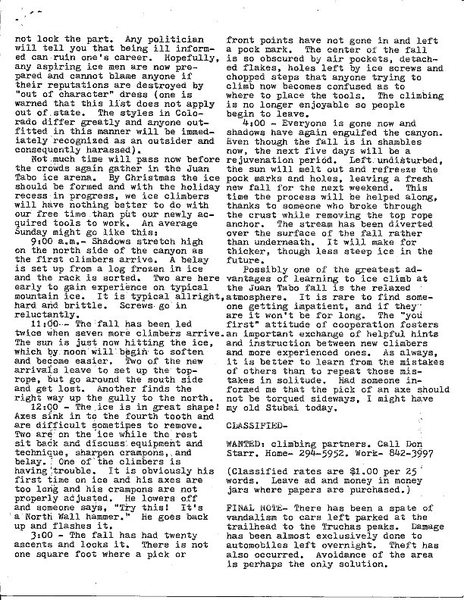 Fall 1977 New Mexico Climber article on the Juan Tabo Waterfall - p. 2