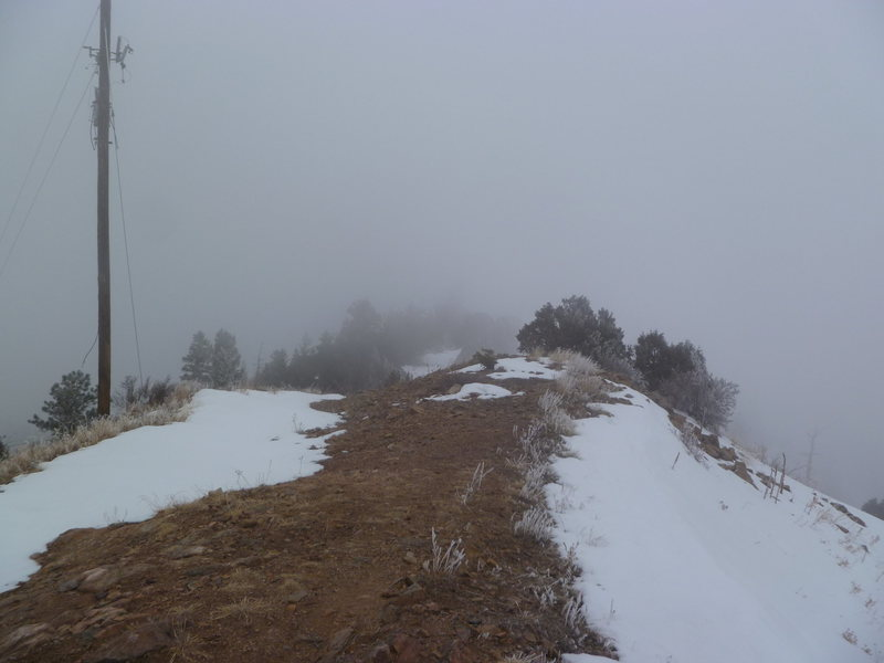 The summit area on a snowy day.