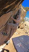 Rock Climbing Photo: Making the crux reach Waiting For The Sun (V2)