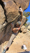 Rock Climbing Photo: Reaching the great pocket Sunny Side Up (V1)