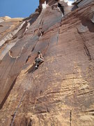 Rock Climbing Photo: moving high over 2 nuts on the first half of the c...