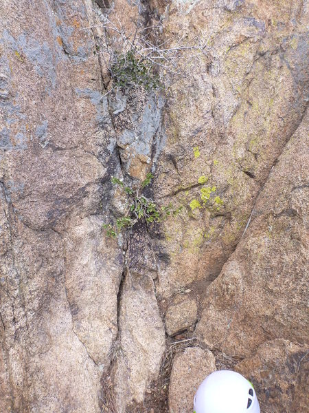 Rock Climbing Photo: The start of the route. X marks the spot