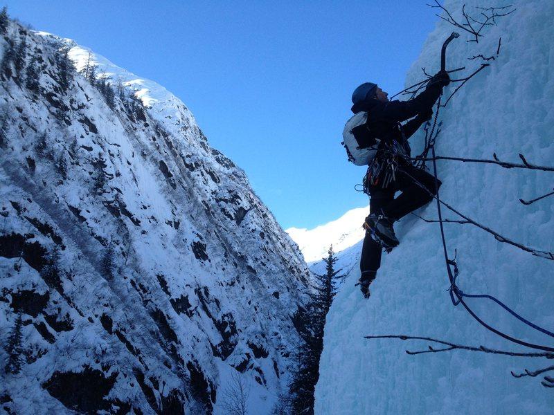 Rock Climbing Photo: Jason leading out on P2 of Rain Check WI4