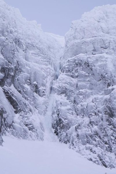 Rock Climbing Photo: Point Five Gully from below  Photo by Alastair Beg...