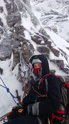Rock Climbing Photo: The belay at the top of P2. From here the route tr...