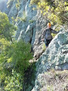 Rock Climbing Photo: Clambering around the point with a big drop to the...