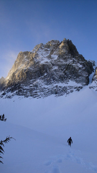 Looking up at Blue Crag in winter conditions.