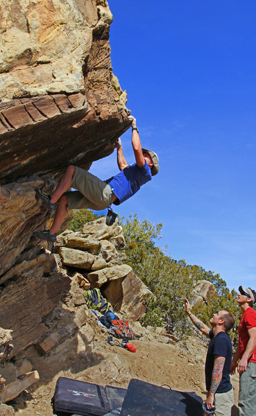 Rock Climbing Photo: Headbangers Ball (V0+) Darryl during FA & about to...