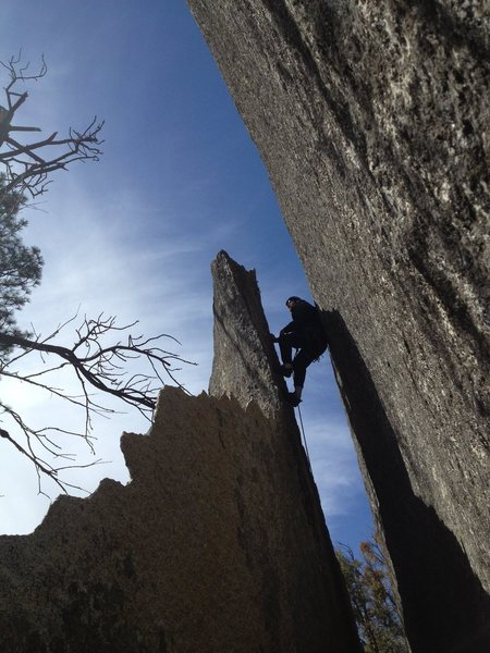 Rock Climbing Photo: Andrew in the chimney, seen from the east side (op...