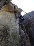 Rock Climbing Photo: Marilyn works out the jams on Bat Crack Left.