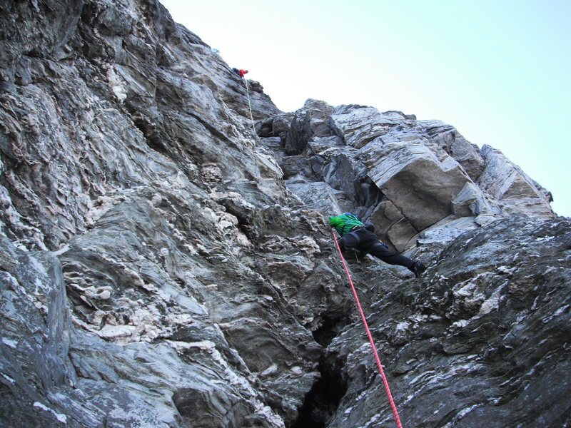 Rock Climbing Photo: 2nd pitch of Sentinel Buttress route.  Higher on t...