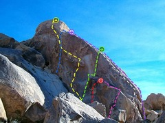 Rock Climbing Photo: Blue=Gravity Pirates Yellow=Compromised Green=Road...