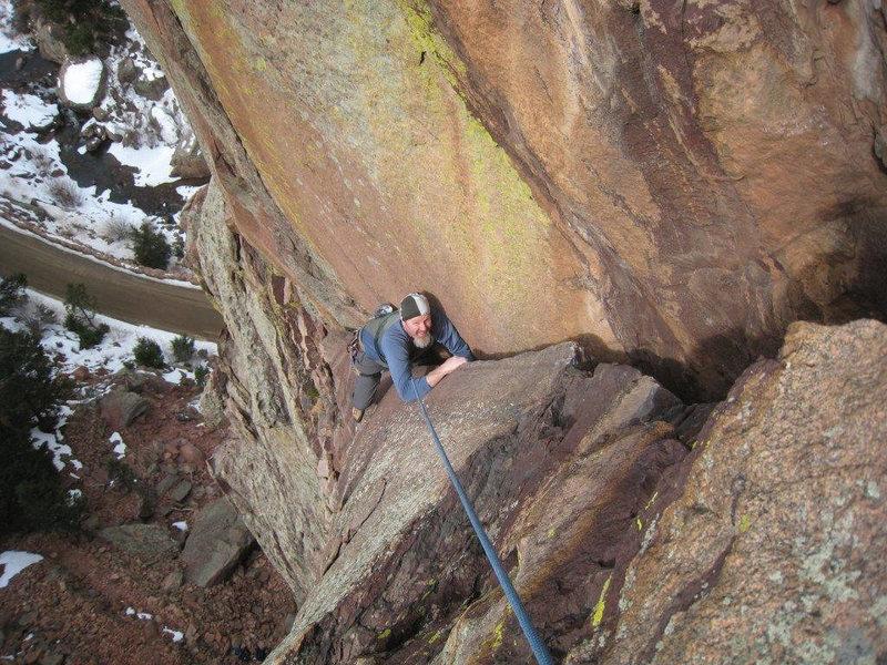 Rock Climbing Photo: The offwidth below the fun hand crack. FAT!