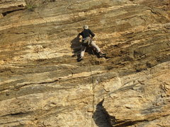 Rock Climbing Photo: Jim in the evening light.  And he will soon wish h...