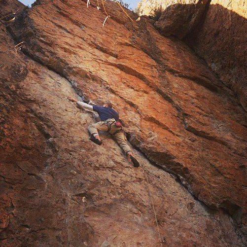 Rock Climbing Photo: Leading Guillotine