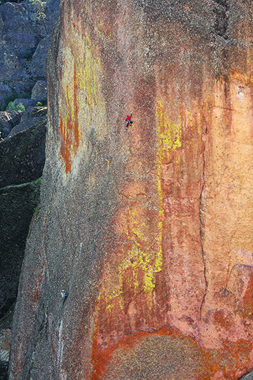 Unknown climbers on the 3rd (arete) pitch of Cuidado.<br> Photo courtesy of Jim Thornburg