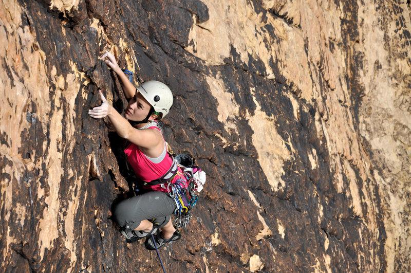 Rock Climbing Photo: Allison Mazzon cruising.  Photo S. Cox