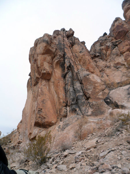 The First Pillar. The slabby face on the right (5.7) and the crack on the left (5.8) offer several variations.