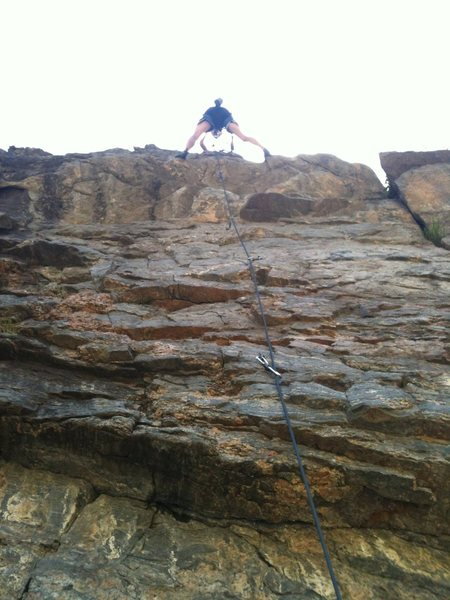 Mark setting toprope - a nice shot from directly below the climb in the belay spot.
