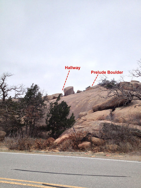 This is the view of the Hallway and Prelude Boulder from the paved pull-off.