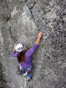 Rock Climbing Photo: Christina working through the crux start of Taurus...