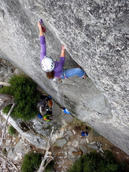 Rock Climbing Photo: Christina gets into the undercling on Taurus.   Ph...