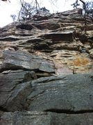 Rock Climbing Photo: I went straight up the slab beneath the vertical f...