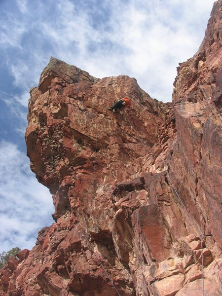 Rock Climbing Photo: RL Climb leading a route on the east face of the M...