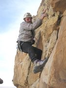 Rock Climbing Photo: Paul scrabbling the starting moves of P5. Note 198...
