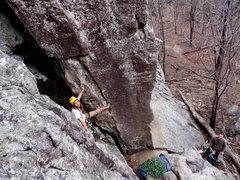 Rock Climbing Photo: Starting up Swamp Rat. A great canyon view awaits ...
