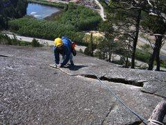 Rock Climbing Photo: Up high on Banana Peel.