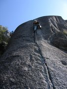 Rock Climbing Photo: Calculus Crack.  Patty Black in the thick of it.  ...